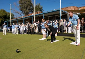 Kelly O'Dwyer bowling the first bowl at the 2011 Centenary Green Opening