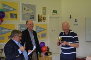 Michael and Tony present award to David Bird, who won both the 21 Up and 100 Up Championships
